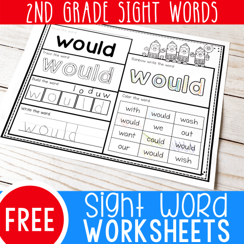 small resolution of Free Printable Second Grade Sight Words Worksheets -