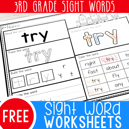 small resolution of Free Printable Third Grade Sight Word Worksheets -