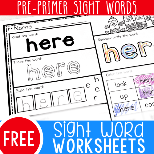 small resolution of Free Printable Pre-K Sight Words Worksheets -
