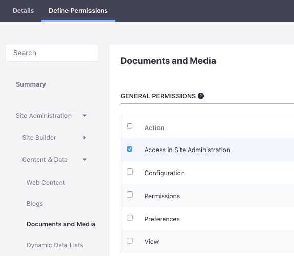 Figure 1: Its often helpful to define a role for specific users to access Documents and Media from Site Administration.