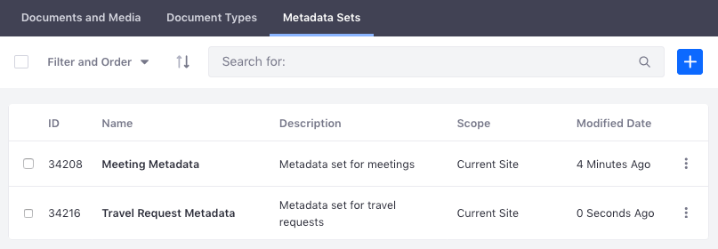 Figure 1: The Metadata Sets management window lets you view existing sets and create new ones for applying to document types.