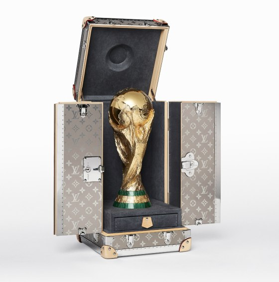 Louis Vuitton Celebrates the World Cup Russia PACKSHOT FIFA Wordl CupTM THROPHY TRAVEL CASE OPEN WITH TROPHY