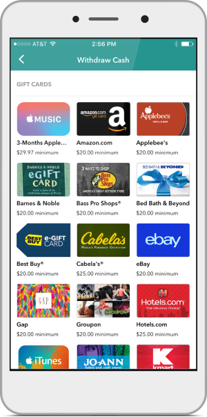 Phone Screen showing various gift cards you can purchase with Ibotta funds