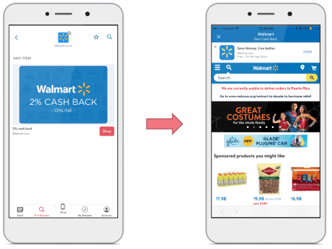 Two phone screens, showing how to earn cash back at Walmart.com using the free Ibotta app.