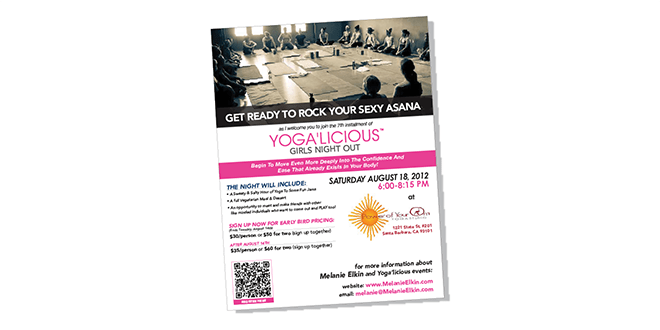 Print - Web - Advertising - Flyer Design - Yoga'Licious Night Out - Client: Yoga'Licious