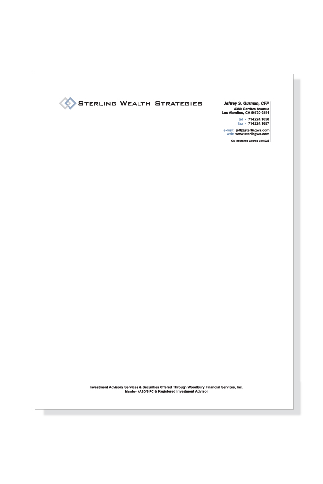 Print - Identity - Letterhead Design - Client: Sterling Wealth Strategies