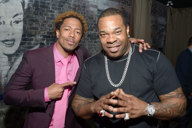 """Nick Cannon (L) and musician Busta Rhymes attends the """"King of the Dancehall"""" premiere screening party"""