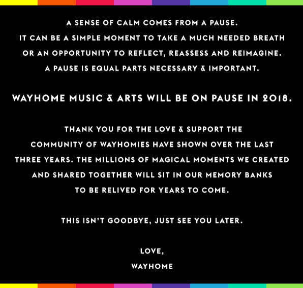 Wayhome Music Festival 2018 on pause