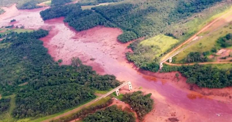 Aerial view Brumadinho dam breach