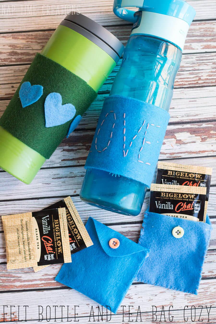 Felt Mug Cozy DIY and tea bag to go from Life Sew Savory
