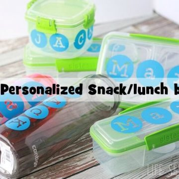 vinyl labled lunch and snack boxes for back to school