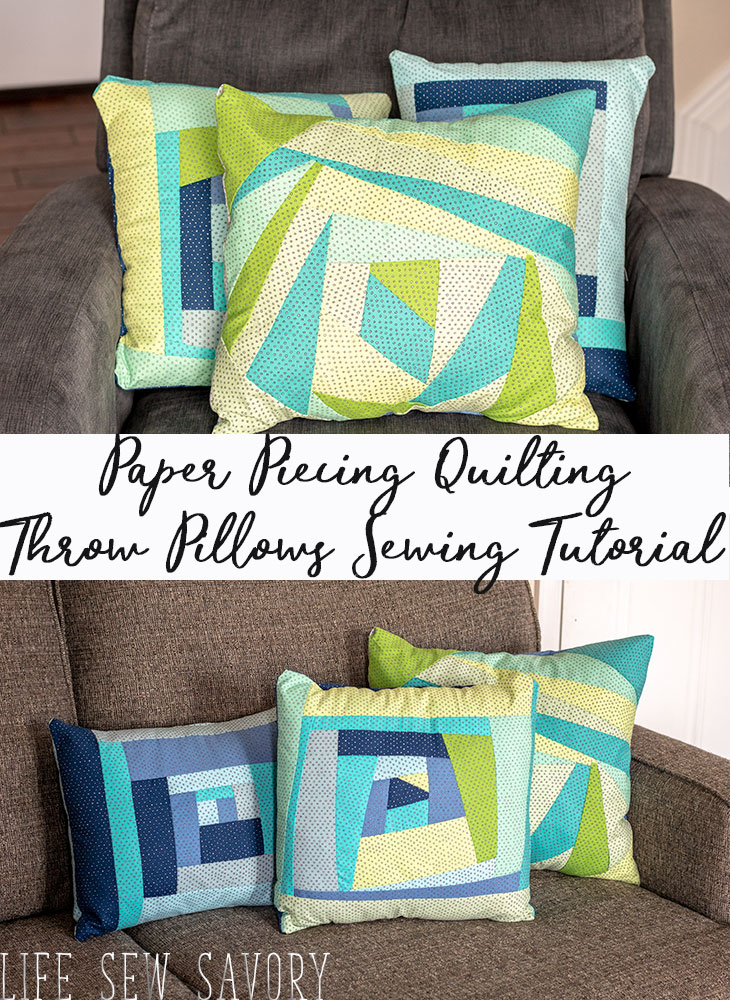 Paper Pieced Quilt Pattern - Throw Pillow sewing tutorial from Life Sew Savory