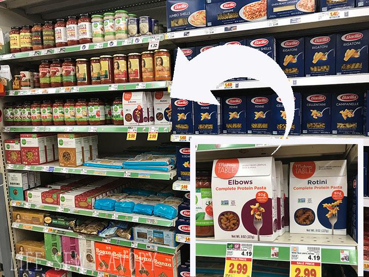 gluten free pasta on store shelf