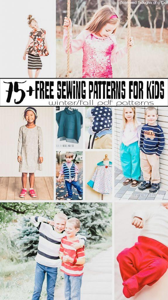 Free Sewing Patterns PDF Downloads - Kids Fall/Winter huge free pattern list from Life Sew Savory