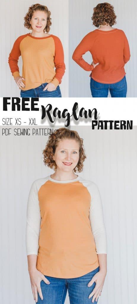 Free Shirt Sewing Pattern - Womens Raglan size xs - xxl pdf sewing pattern from Life Sew Savory