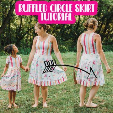 ruffled half circle skirt and free dress sewing patterns