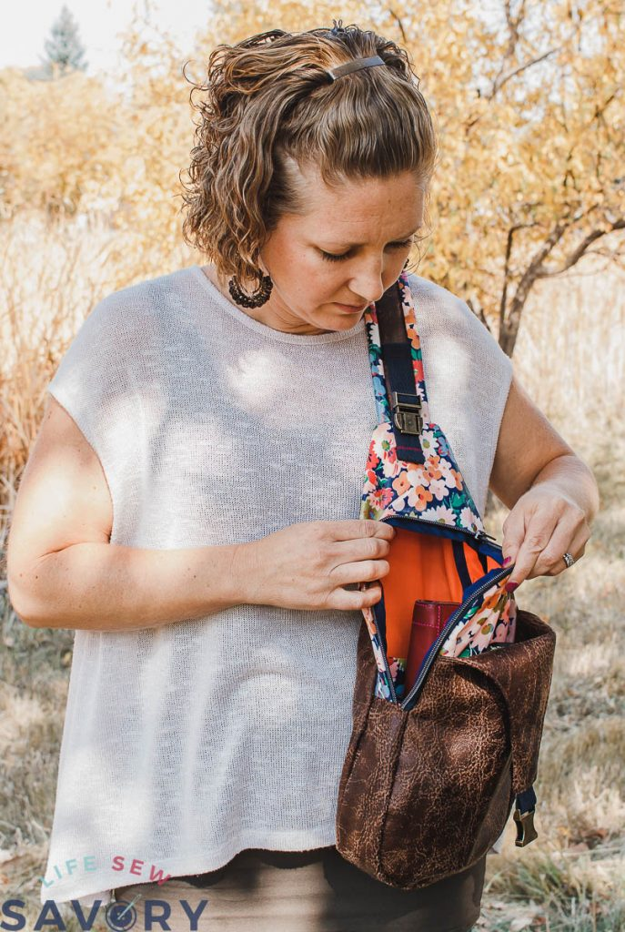easy to access bag pattern Sling Backpack Free Pattern
