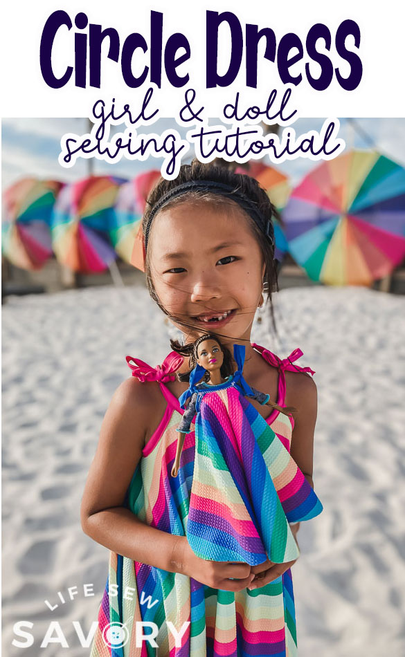 circle dress pattern for girls and matching doll