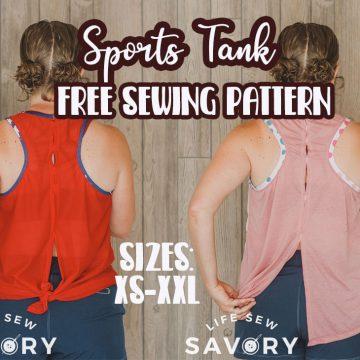 Open Back Sports Tank Free Sewing Pattern