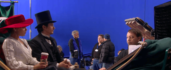 oz-the-great-and-powerful-sam-raimi-and-franco-during-the-creation-of-carriage-scene-with-blue-screen