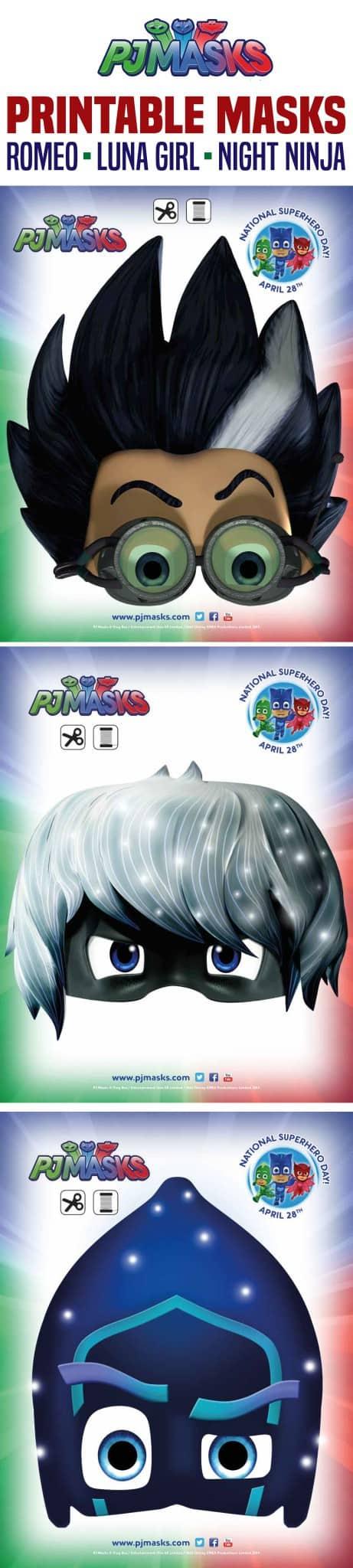 graphic regarding Printable Pj Masks identified as Printables - PJ Masks Night time Ninja, Romeo, Luna Everyday living She Is made up of