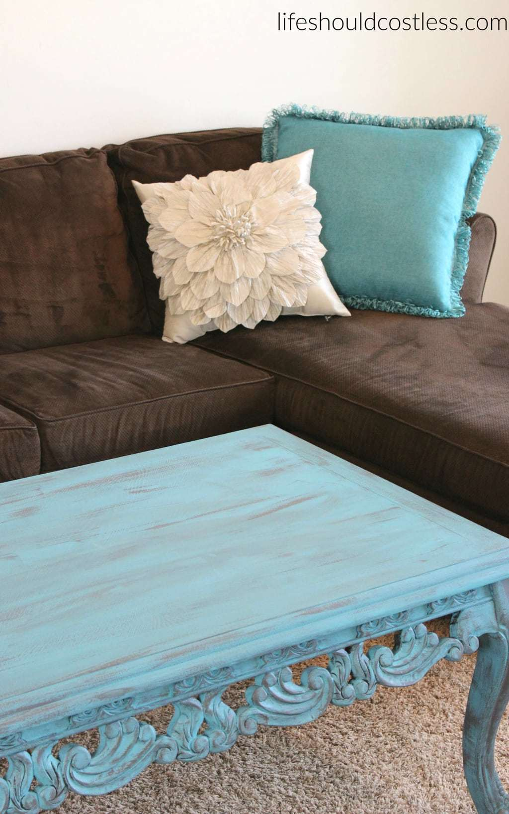 Coffee Table Makeover In Turquoise Americana Dcor