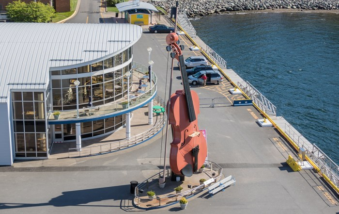 The world's largest fiddle can be found at the Joan Harriss Cruise Pavilion in the harbour of Sydney, Nova Scotia. Photo Credit: Wendy Nordvik-Carr