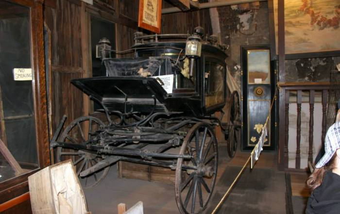 The Black Mariah hearse was used to take the deceased to their grave site.