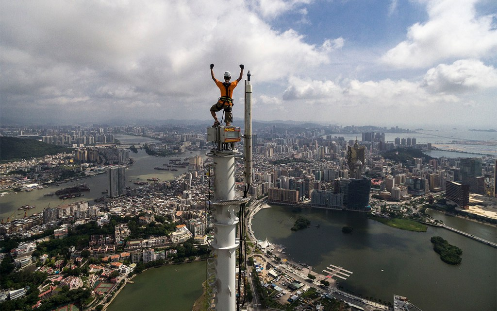 Get your adrenaline pumping! Looking for a rush? Climb to the top of the Macau Tower, China.
