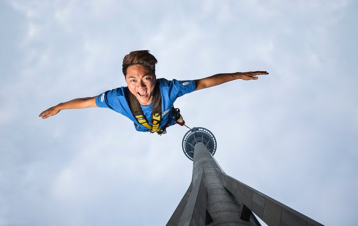Get your adrenaline pumping! Looking for a rush? Experience the world's highest Bungy Jump from the Macau Tower, China. Photo courtesy: AJ Hackett Bungy / Macau Tower