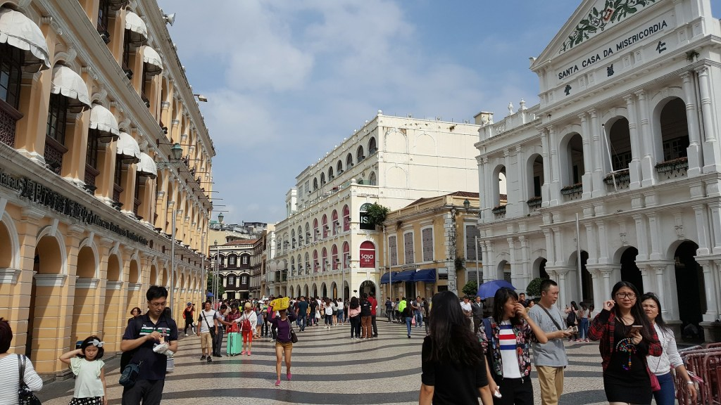 Senado Square is still a central gathering place in Macau. Many shops and restaurants surround the square.
