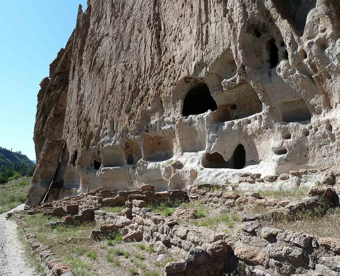 Bandelier National Monument cliff is one of the top things to do near Santa Fe, New Mexico