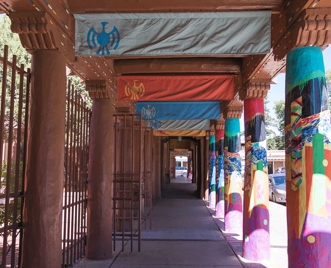 Outside the colorful IAIA Museum of Contemporary Native Arts. A visit to the museum is one of the best things to do in Santa Fe, New Mexico.