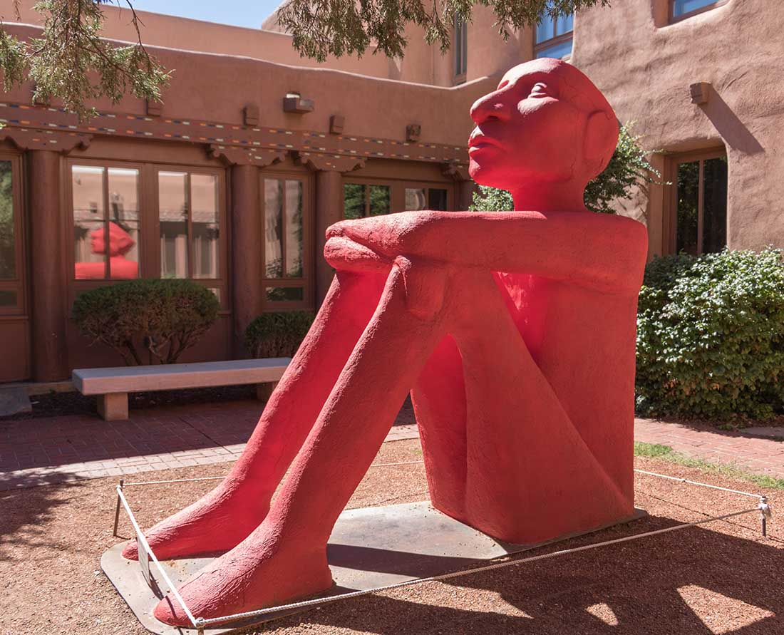 Outside the colorful IAIA Museum of Contemporary Native Arts. A visit to the museum is one of the best things to do in Santa Fe, New Mexico. Photo: Wendy Nordvik-Carr©