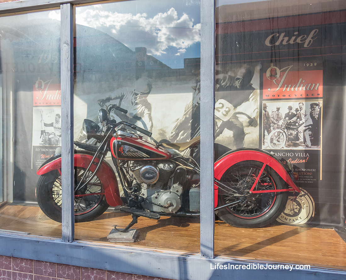 The historic Lowell neighbourhood of Bisbee, Arizona displays vintage Indian Motorcycles from the 1950s. Photo Credit: Wendy Nordvik-Carr