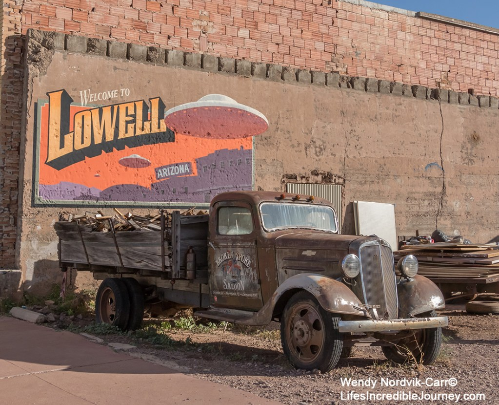 Explore historic Lowell, Arizona, a well-preserved area with 1950s vintage cars, Indian Motorcycles, stores and gas stations. Photo Credit: Wendy Nordvik-Carr