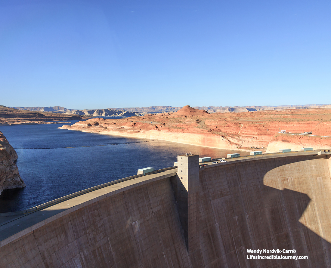 Glen Canyon Dam is the second highest concrete-arch dam in North America.It is one of the top things to see in the Lake Powell area. Photo Credit: Wendy Nordvik-Carr©