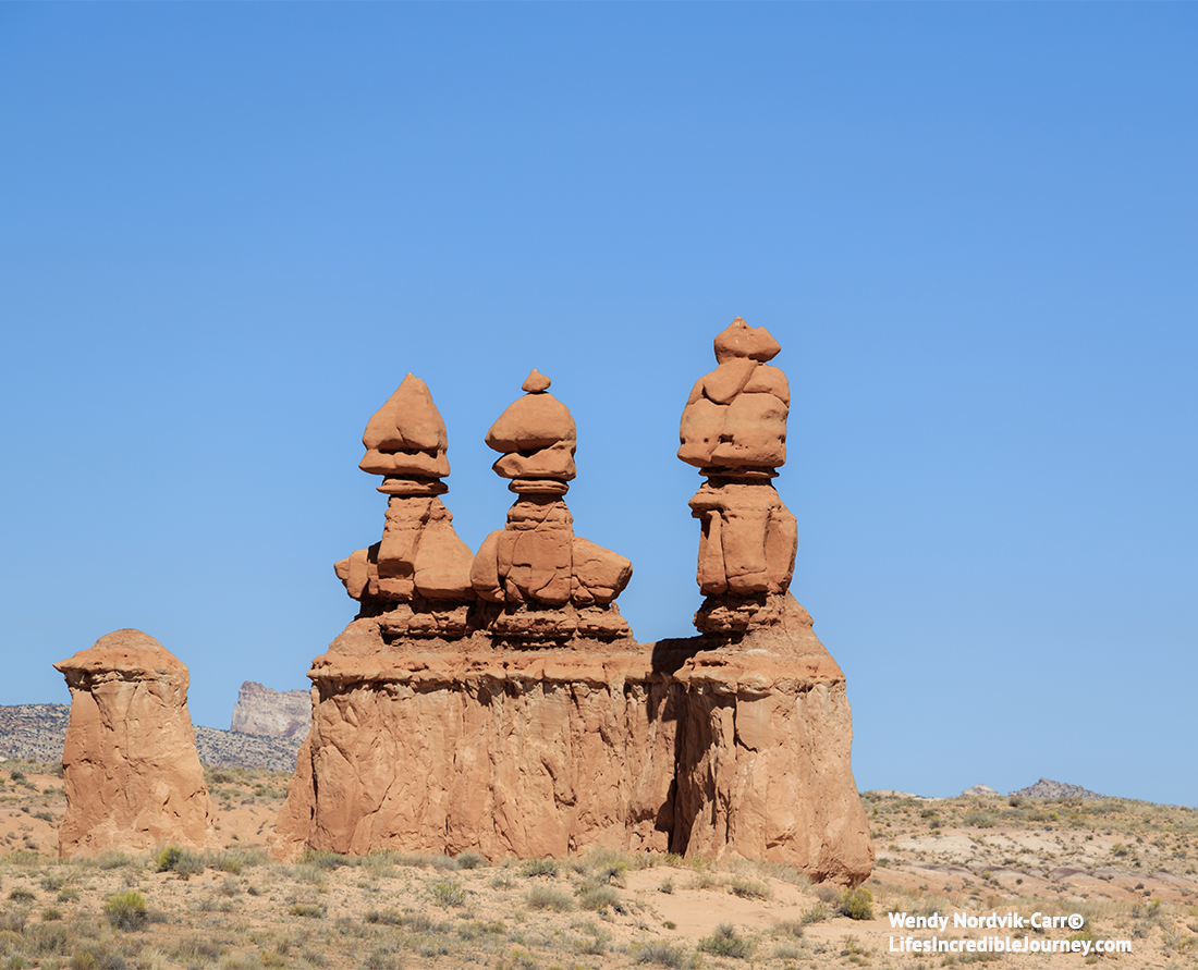 Three Sisters in Goblin Valley State Park. Photo: Wendy Nordvik-Carr©
