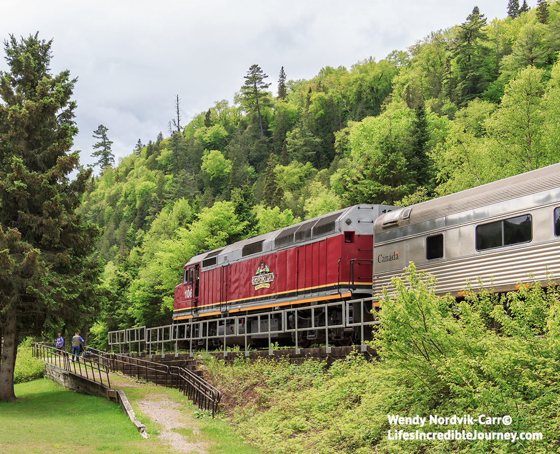 The Agawa Canyon train route - Discover the inspiration of Sault Ste Marie through the eyes of Canada's famous Group of Seven artists. Ride the rails on a uniquely Canadian spectacular Agawa Canyon TrainTour. Photo Credit: Wendy Nordvik-Carr©