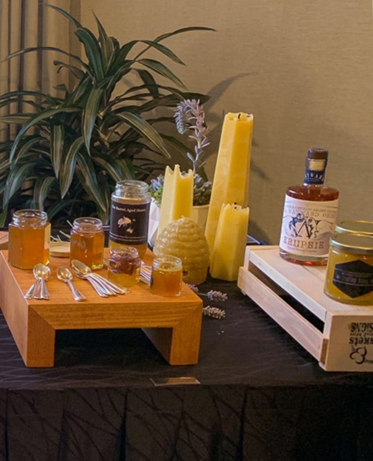 A display of products made from rooftop bee hives of Vancouver's Fairmont Waterfront Hotel. Photo Credit: Wendy Nordvik-Carr©