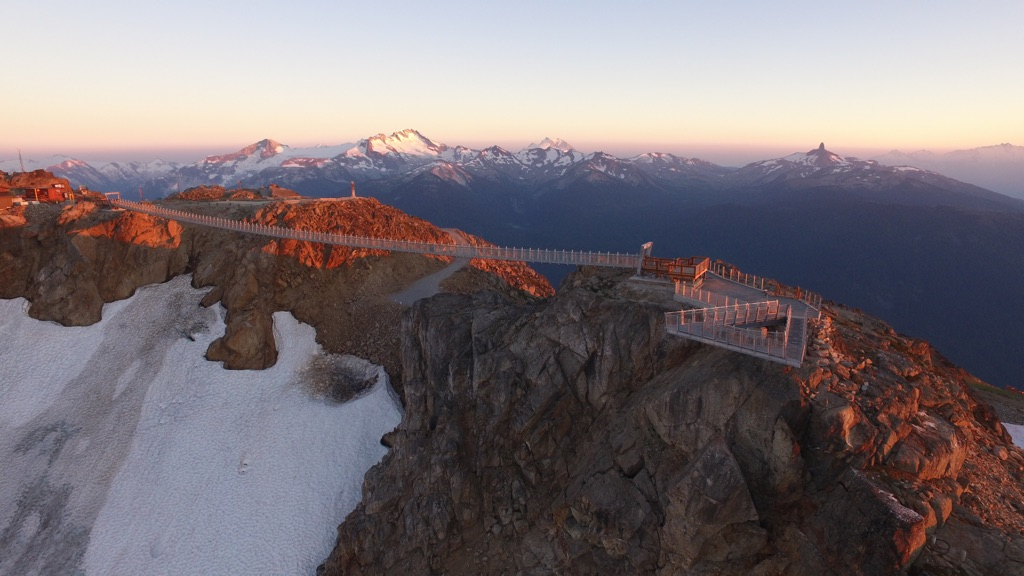 Axis Mountain Technical - Sky Bridge & Cliff Walk golden hour. Photo Credit: Vail Resorts, Dan Pereda