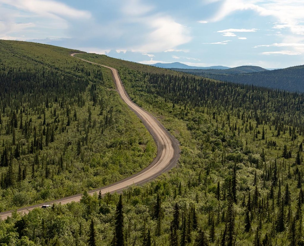 Top of the World Highway is an iconic scenic drive in the Yukon. This is km 56 at Castle Rock.