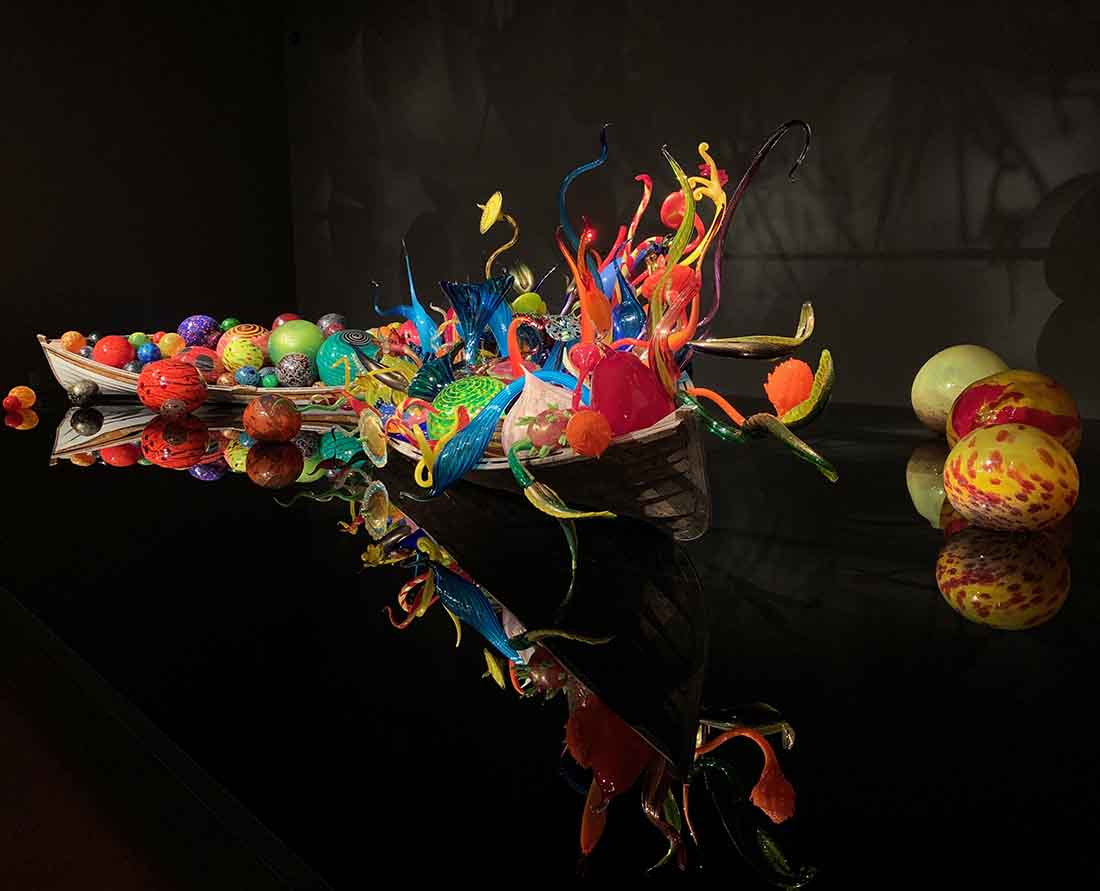 Ikebana and Float Boats installation at Chihuly Gardens and part of Seattle's vibrant glass exhibits.