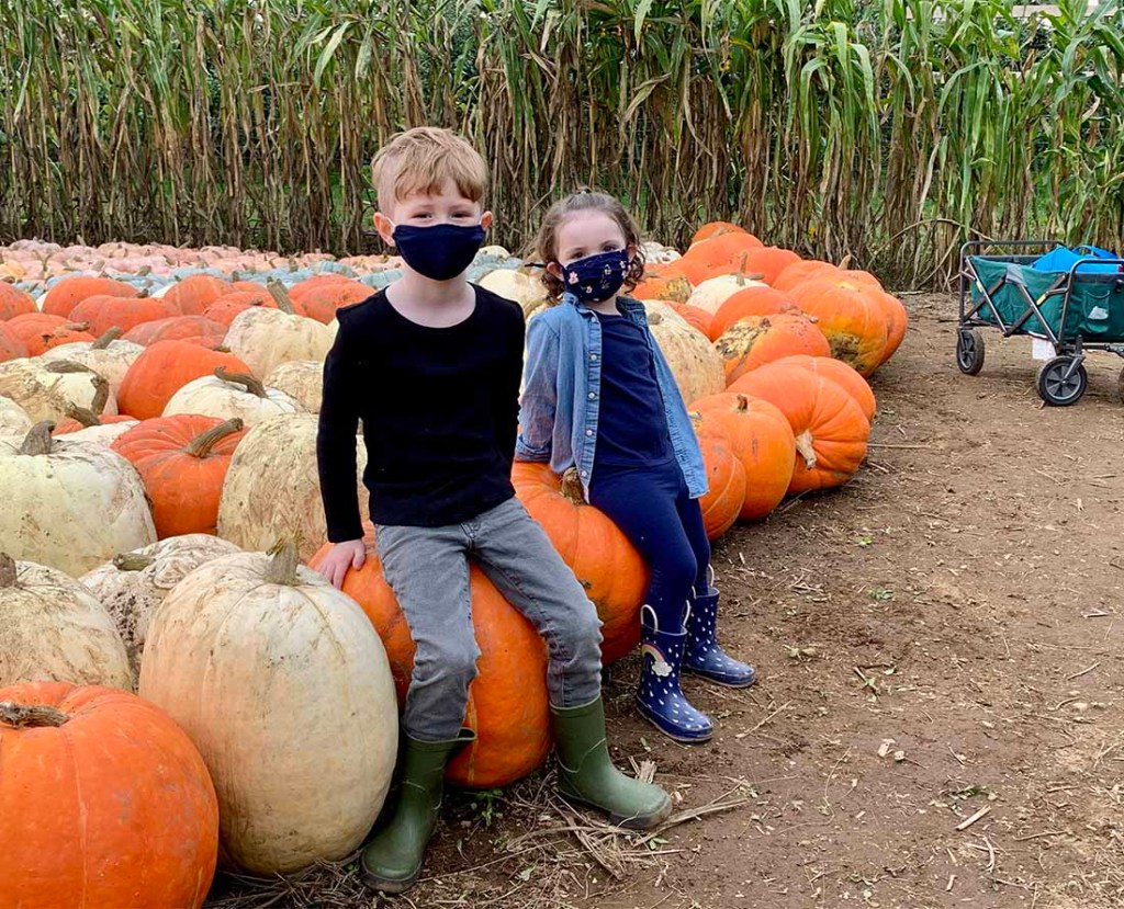 E and L in the Pumpkin Patch at Taves Family Farms. Photo: Wendy Nordvik-Carr©