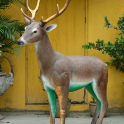 Resin Outdoor Chairs Hanging Swing Pod Chair Cushions Deer Head Up With Golden Antlers 5ft. Statue [mo-yab] - $629.99 : Life Size Statues ...