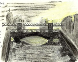 Butt bridge in Dublin, charcoal and soft pastels
