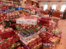 Pile of presents in front of the altar