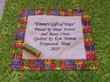 Labeling Emma's quilt
