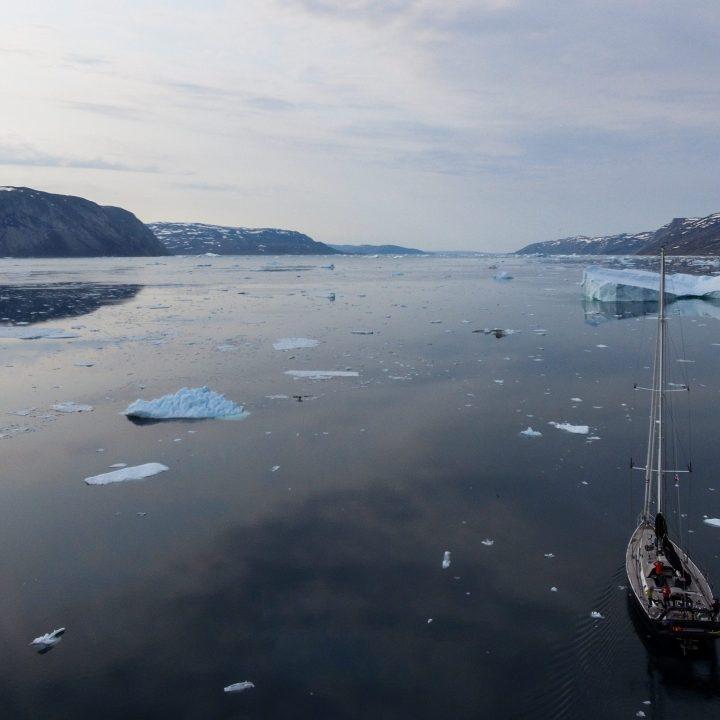 Lifesong qui navigue dans un fjord pleins d'icebergs