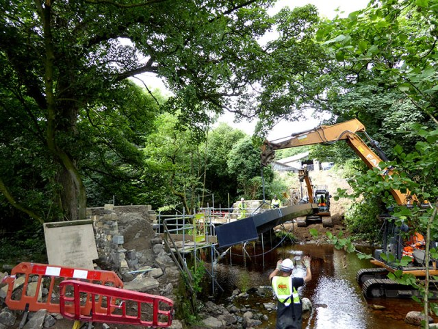 FRP footbridge being lifted into position at Bird Ridding